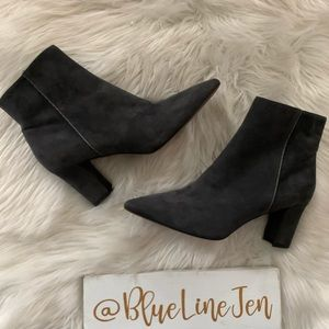 Maia Suede Pointy Toe Anthracite Bootie NWOT